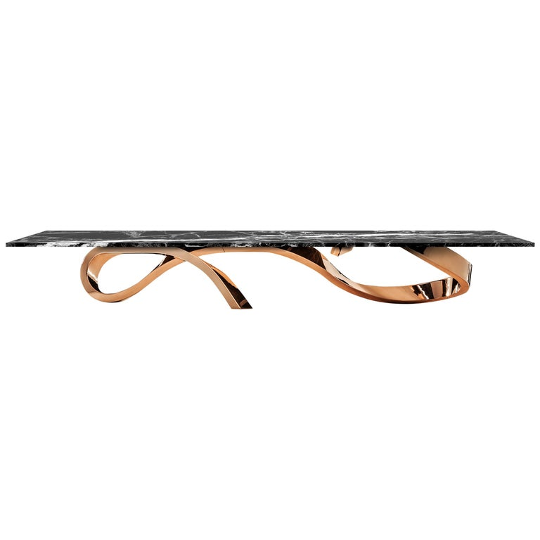 Contemporary Apate Coffee Table in Marble, Brass, Copper For Sale