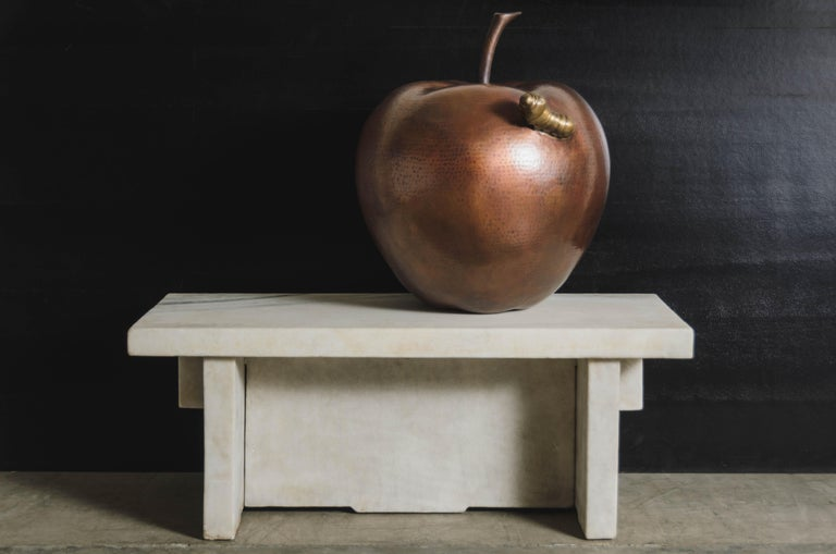 Repoussé Contemporary Apple w/ Worm Sculpture in Antique Copper and Brass by Robert Kuo For Sale