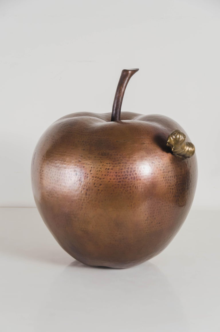 Contemporary Apple w/ Worm Sculpture in Antique Copper and Brass by Robert Kuo In New Condition For Sale In West Hollywood, CA
