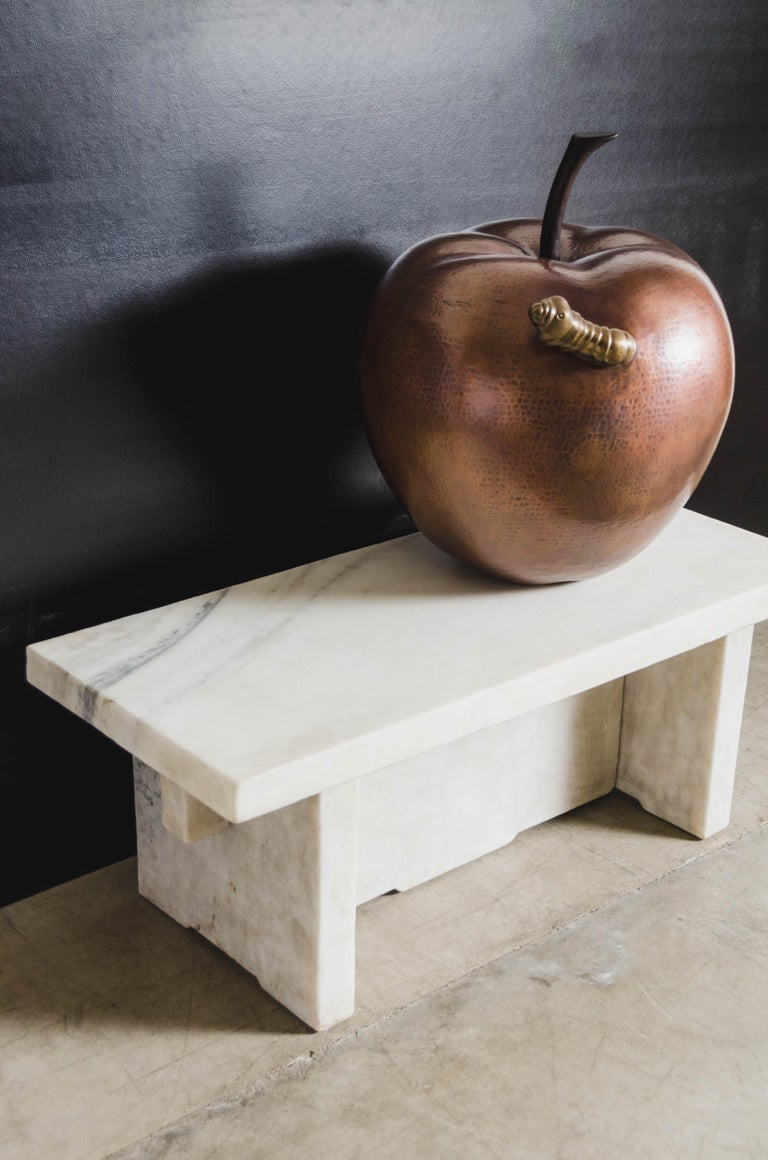 Contemporary Apple w/ Worm Sculpture in Antique Copper and Brass by Robert Kuo For Sale 2