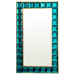Contemporary Aqua Marine Diamond Murano Glass Mirror, in Stock