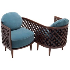 Contemporary Arabesque Loveseat in American Walnut
