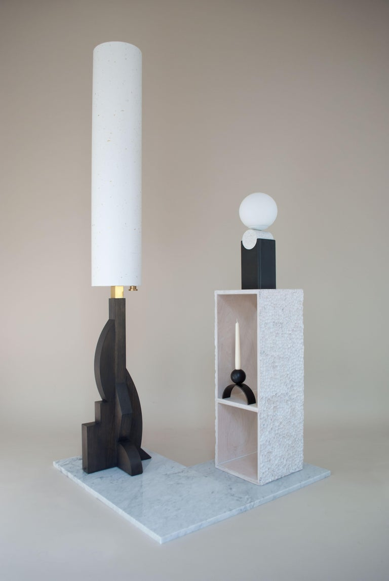 Patinated Contemporary Arch and Ball, Blackened Steel Candleholder For Sale