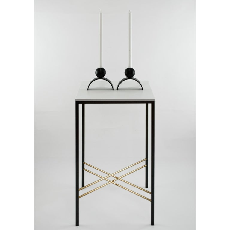 Blackened Contemporary Candle holder Arch and Ball, Extra Large in Heavy Black Steel For Sale