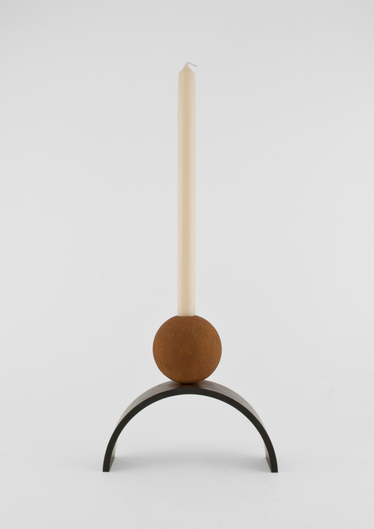 British Contemporary Arch and Ball Extra Large Candle Holder For Sale