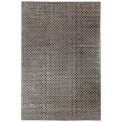 Contemporary Arches Silver and Matte Gray Hand Knotted Wool and Silk Rug