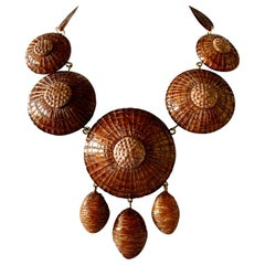 Contemporary Architectural Brown Statement Necklace