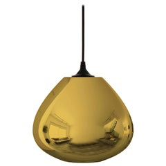 Contemporary Architectural Hand Blown Metallic Gold Pendant Lamp