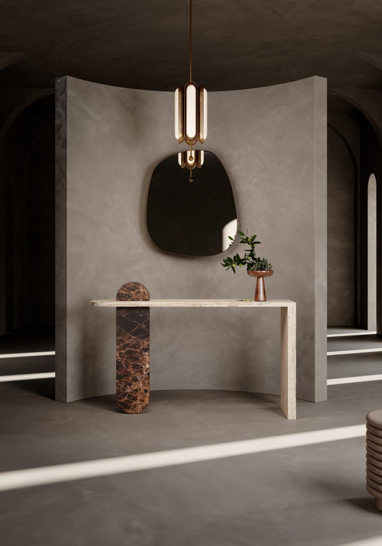 Our contemporary architecture marble table contains two marble pieces delicately interject, creating a visually enchanting marble tabletop filled with depth and character. Mixing natural textures and functional clean compositions create a feeling of