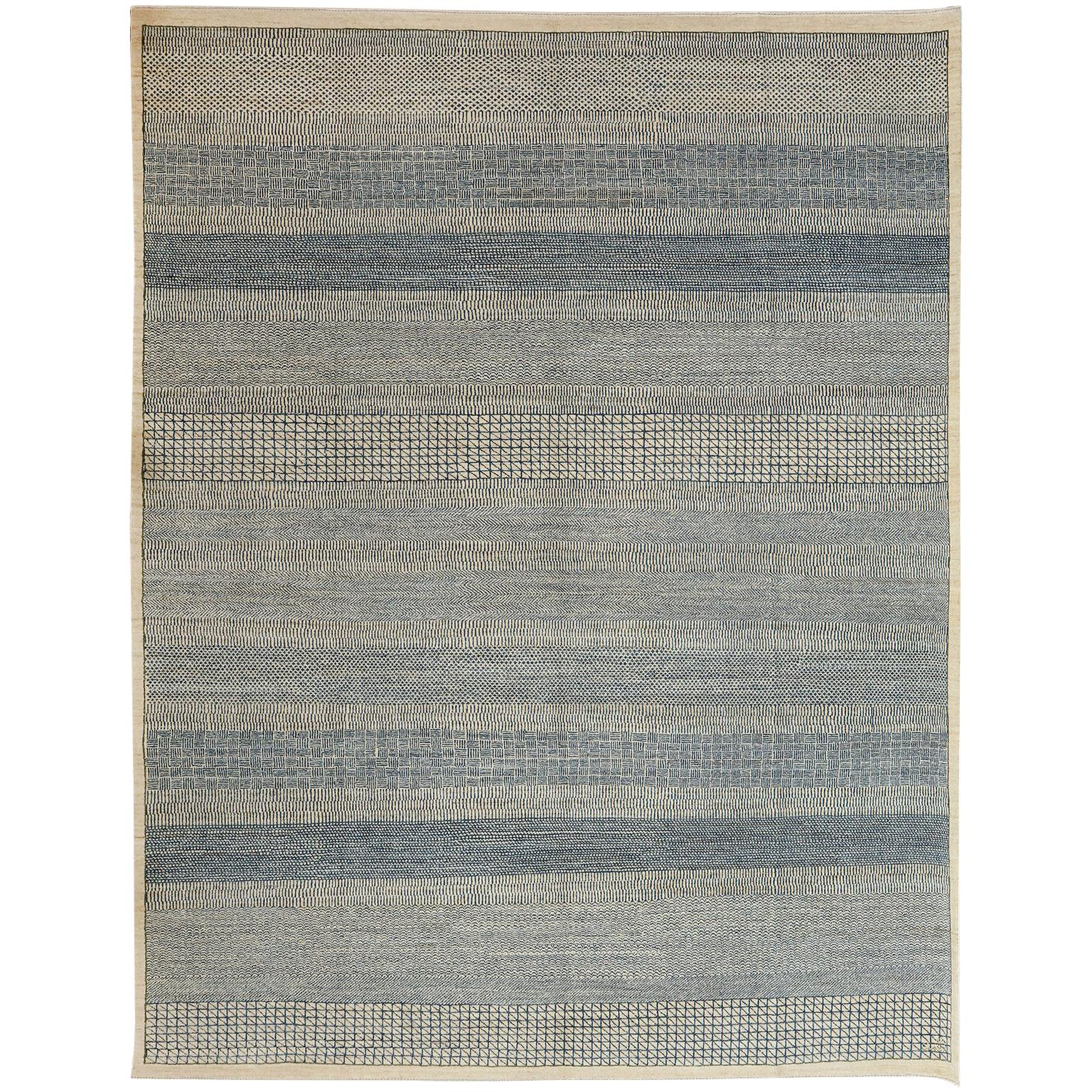 Contemporary Architectural Persian Area Rug in Blue and Cream Wool