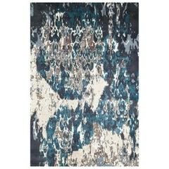 "Contemporary Area Rug 6 x 9 in Black Green Handmade of Silk Hemp Wool, ""Sultry"""