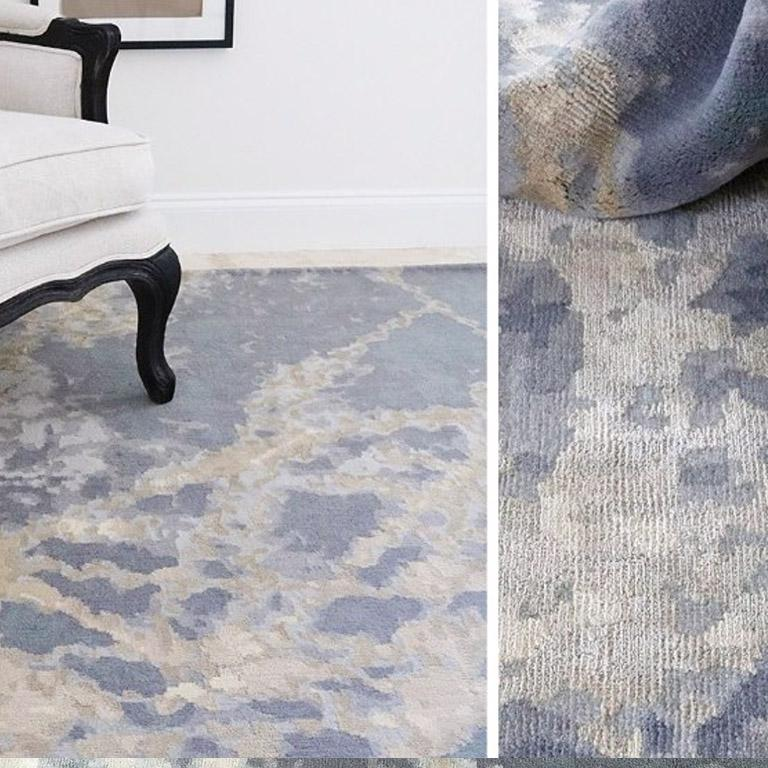 Modern Contemporary Area Rug in Blue, Handmade of Silk and Wool,