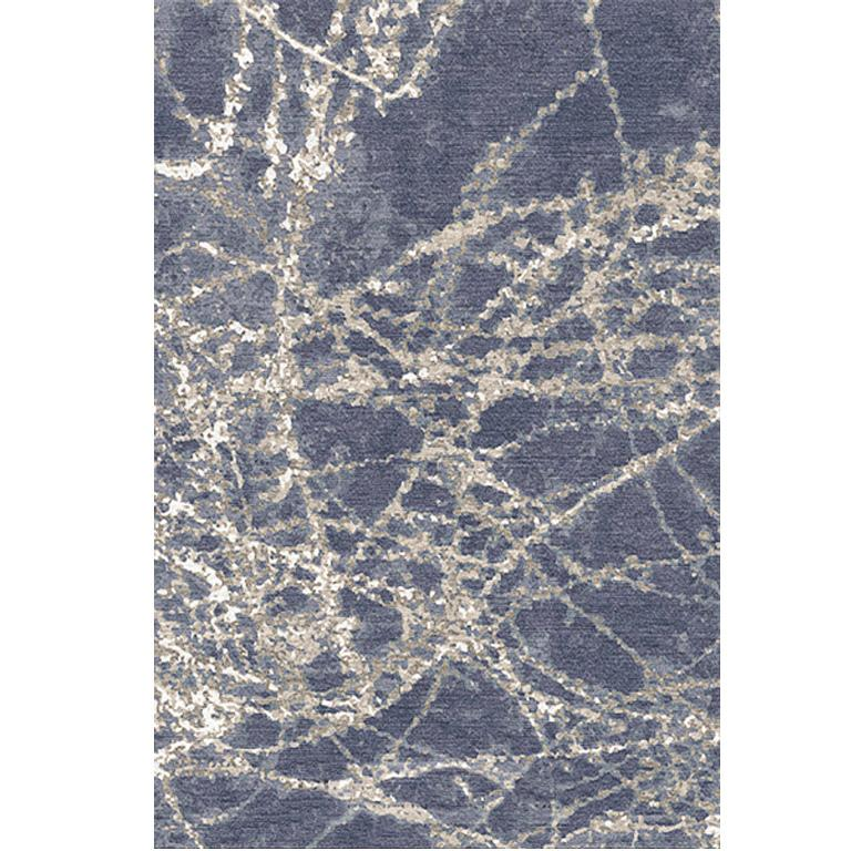 Nepalese Contemporary Area Rug in Blue, Handmade of Silk and Wool,