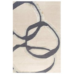 """Contemporary Area Rug Abstract in Taupe Grey, Handmade of Silk and Wool, """"Crete"""""""