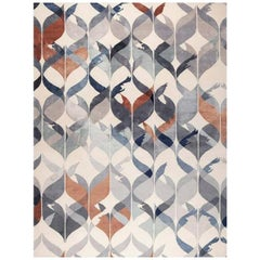 """Contemporary Area Rug Blue Brown Handmade of Silk Pashmina Wool """"Hello Gorgeous"""""""