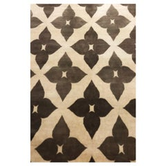 """Contemporary Area Rug Brown and Beige, Handmade of Wool, 60 Knot """"Flower"""""""
