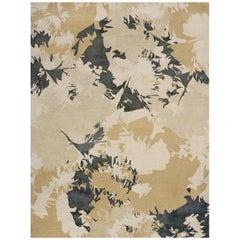"Contemporary Area Rug in Beige Tan Dark Green, Handmade of Silk, Wool ""Bliss"""