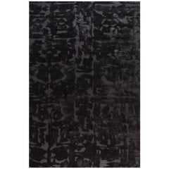 "Contemporary Area Rug in Black, Handmade of Silk and Wool, ""Rio"""