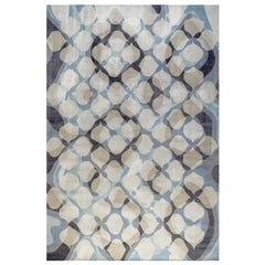 """Contemporary Area Rug in Blue Black, Handmade of Silk, Wool, """"Epic"""""""