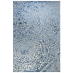 """Contemporary Area Rug in Blue, 8'x10' Handmade of Silk Wool, 150-knot """"Oceans"""""""