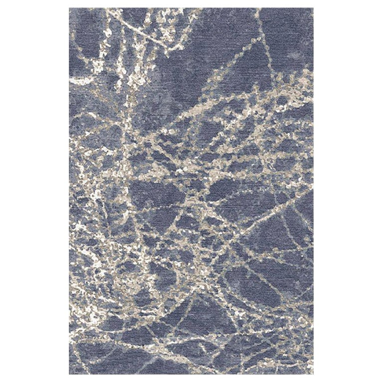 """Contemporary Area Rug in Blue, Handmade of Silk and Wool, """"Shoots"""" For Sale"""