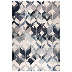 """Contemporary Area Rug in Blues, Handmade of Silk-Pashmina-Wool, """"Hello Gorgeous"""""""