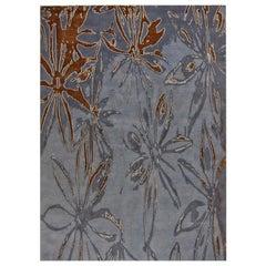 "Contemporary Area Rug in Blues, Handmade of Silk, Wool, ""Spice Dark"""