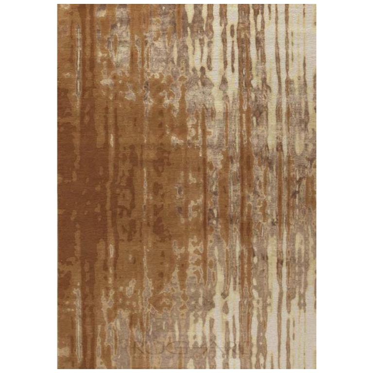 Contemporary Area Rug in Brown, Handmade of Silk and Wool