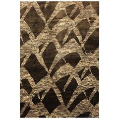 "Contemporary Area Rug in Chocolate Brown Handmade of Silk Hemp Wool, ""Karma"""