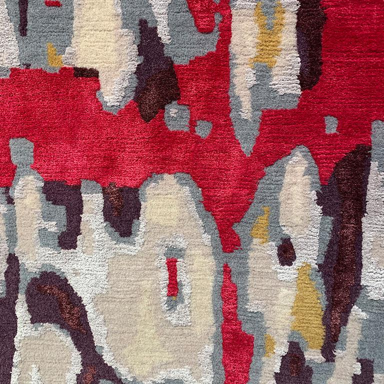 Taking her cues from street art she had seen on a trip to Portugal, Sigal Sasson uses creative landscape of lines in an opulent layers of colors fully blown, on a field of soft highland wool. Evoking a cool punk vibes this unique rug design is