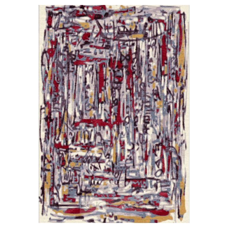 """Contemporary Area Rug in Colors Red, Black, Handmade of Silk, Wool, """"Graffito"""" For Sale"""