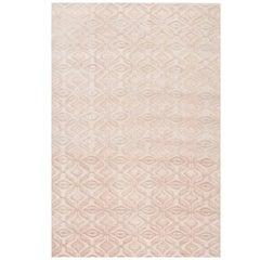 "Contemporary Area Rug in Cream, Ivory, Handmade of Silk Wool Hemp, ""Envy Cream"""