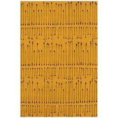 """Contemporary Area Rug in Gold Mustard, 8'x10'  Handmade of Silk Wool """"Pieces"""""""