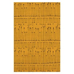 "Contemporary Area Rug in Gold Mustard, Handmade of Silk Wool ""Pieces"""