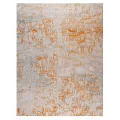 "Contemporary Area Rug in Grey and Golds, Handmade of Silk, Wool, ""Glow"""
