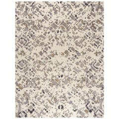 "Contemporary Area Rug in Ivory, Gold, Purple, Handmade of Silk, Wool, ""Firenze"""