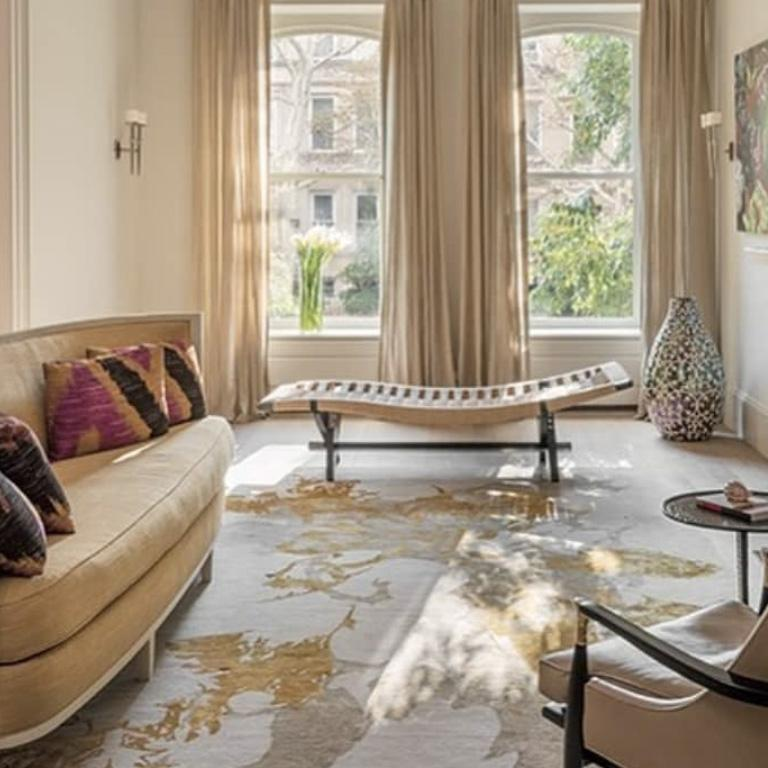Modern Contemporary Area Rug in Taupe and Golds, 100k Handmade of Silk, Wool,