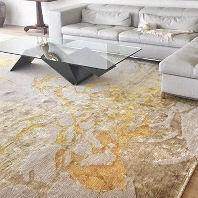 Nepalese Contemporary Area Rug in Taupe and Golds, 100k Handmade of Silk, Wool,