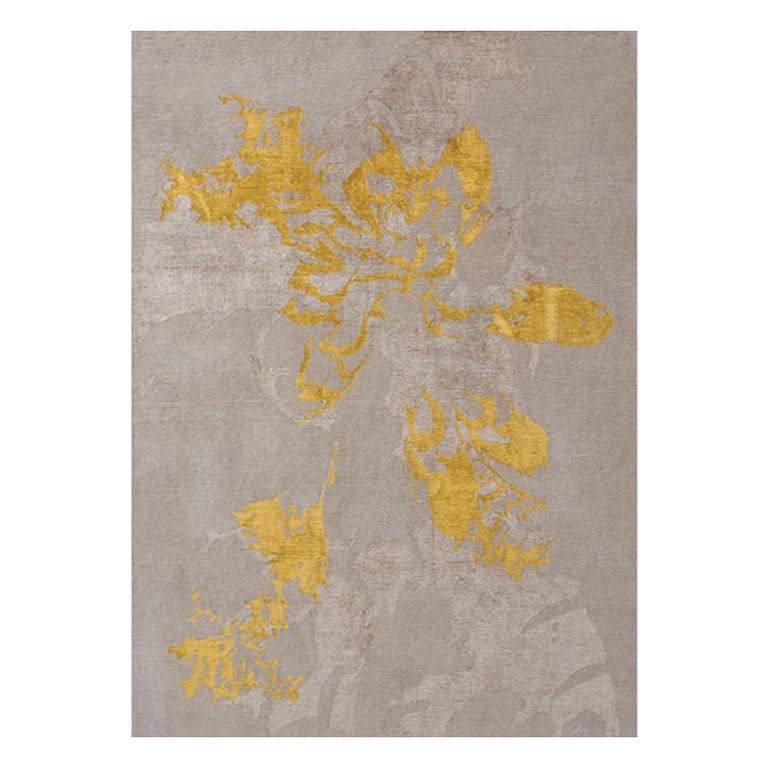 """Contemporary Area Rug in Taupe and Golds, 100k Handmade of Silk, Wool, """"Shadow"""" For Sale"""
