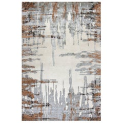 "Contemporary Area Rug in Taupe Brown, Handmade of Silk and Wool, ""Riverpool"""