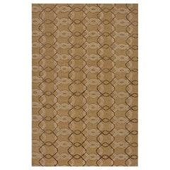 "Contemporary Area Rug in Taupe Brown, Handmade of Silk Hemp Wool, ""Pendant"""