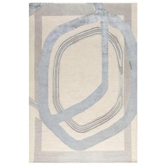 "Contemporary Area Rug in Taupe Silver Grays, Handmade of Silk and Wool, ""Roco"""