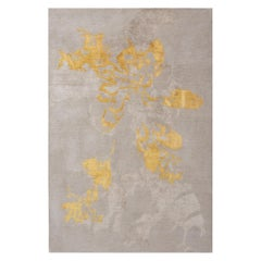 "Contemporary Area Rug in Taupe Yellow Gold, Handmade of Silk and Wool ""Shadow"""