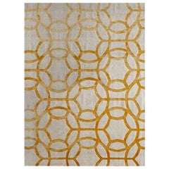 "Contemporary Area Rug in Taupe Yellow, Handmade of Silk and Wool, ""Sultana"""