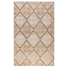 "Contemporary Area Rug Taupe Purple, Handmade of Silk, Wool ""Isabel"""