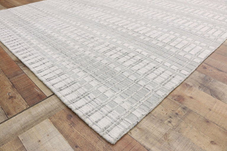 Wool Contemporary Area Rug with Scandinavian Modern Swedish Style For Sale