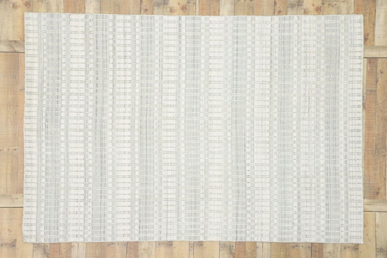 Contemporary Area Rug with Scandinavian Modern Swedish Style For Sale 1