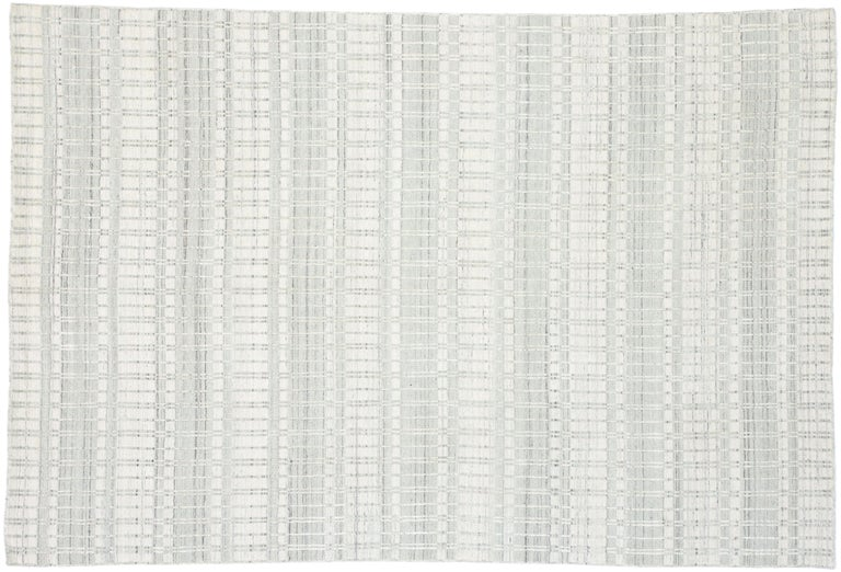 Contemporary Area Rug with Scandinavian Modern Swedish Style For Sale 3