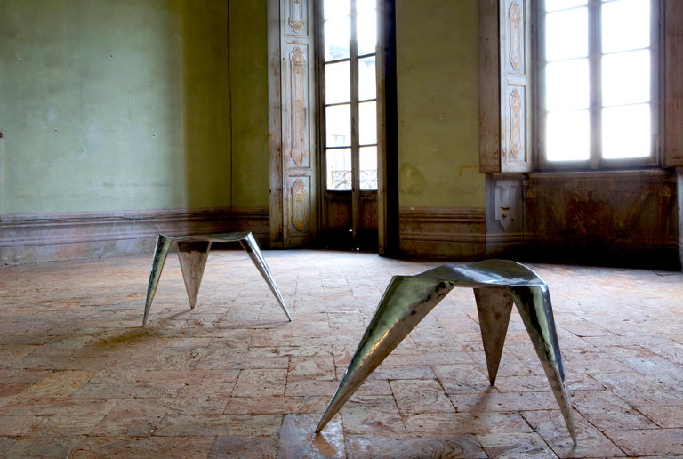 Contemporary, Argo, Chair in Handcrafted Aluminium For Sale 2
