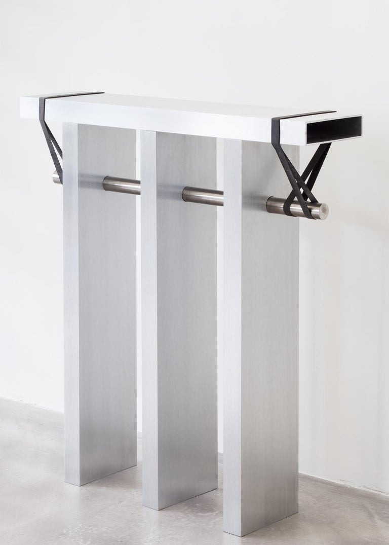 Modern Contemporary 'Arke' Console in Brushed Aluminium and Polished Stainless Steel For Sale